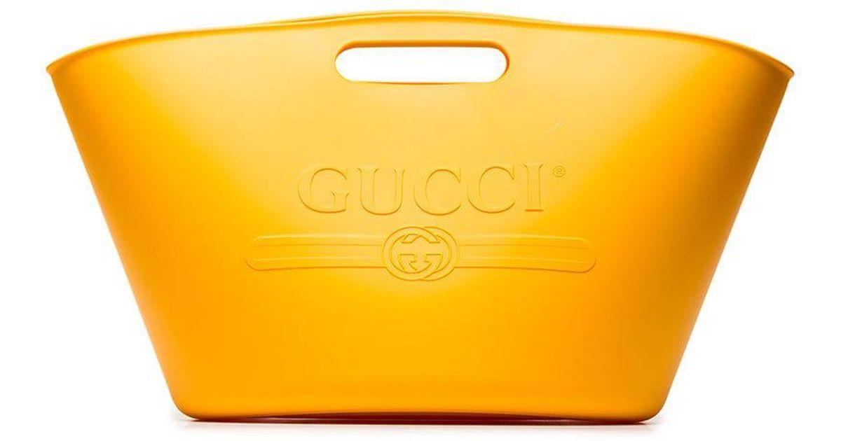 94360cfcf70f Gucci Yellow Logo Rubber Tote in Orange for Men - Lyst