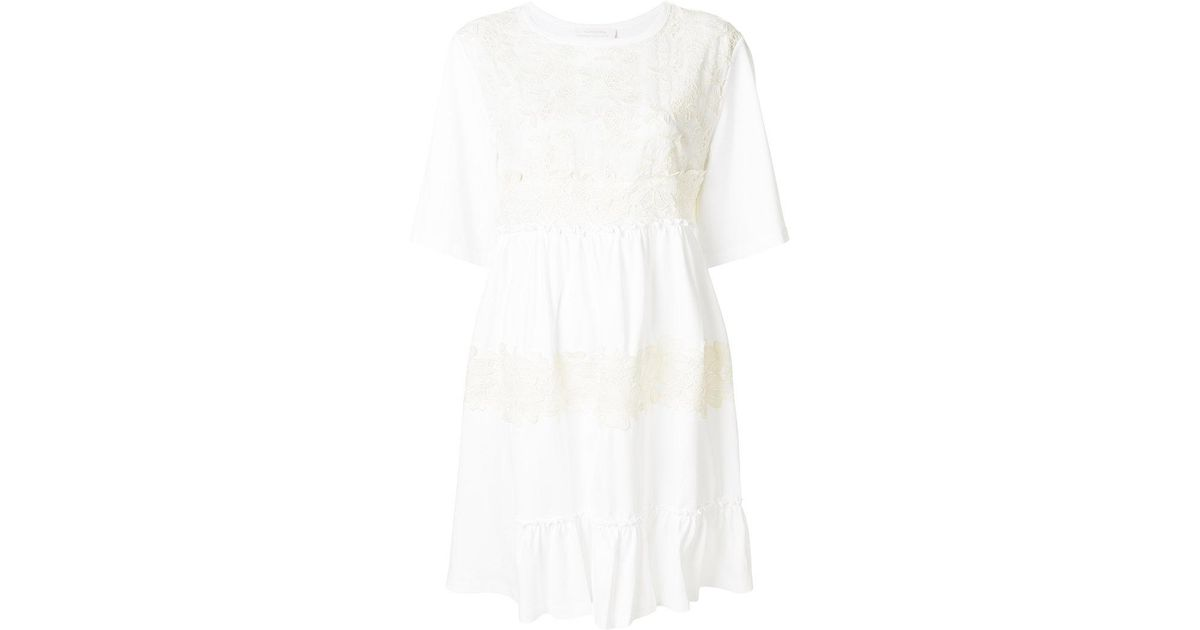 See By Chloé White Lace Embellished Short Sleeved Dress