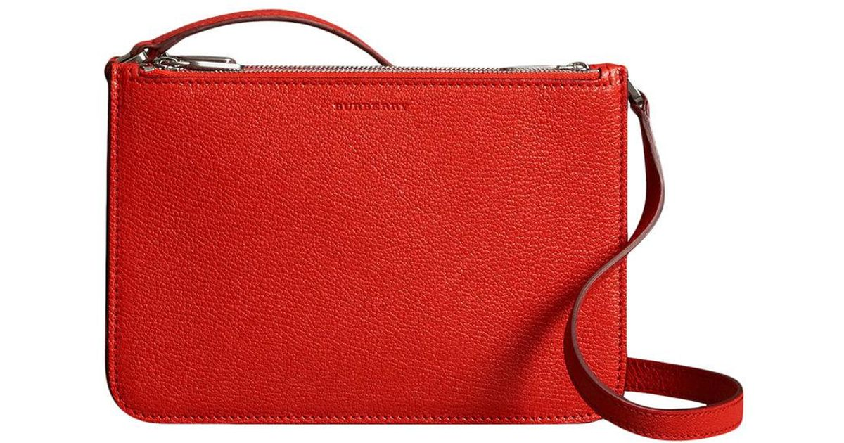 3a46067f66 Burberry Red Triple Zip Grainy Leather Crossbody Bag