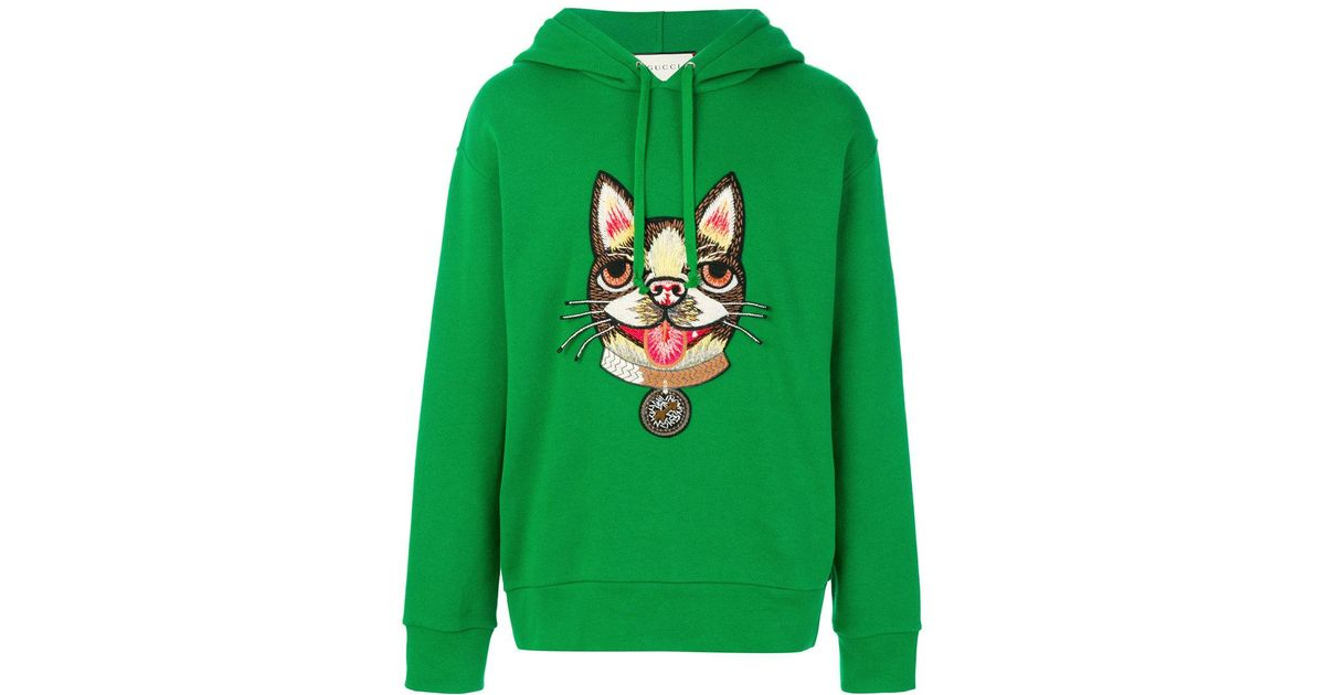 83fbc4f7 Gucci Dog Embroidered Sweatshirt in Green for Men - Lyst