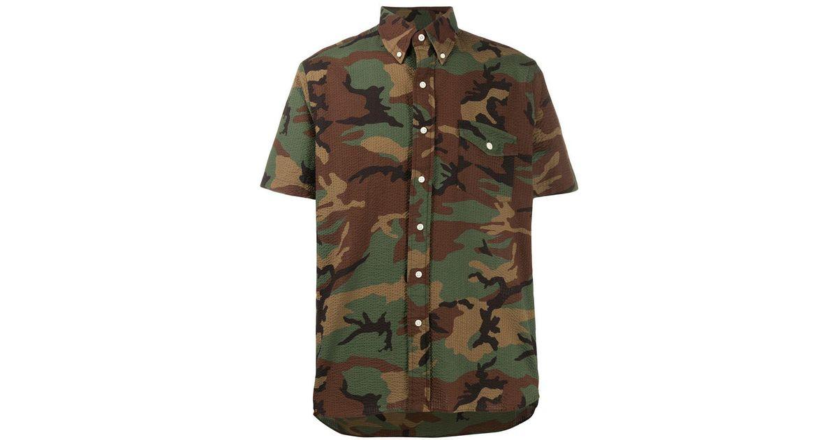 Polo Ralph Lauren Cotton Camouflage Print Seersucker Shirt In