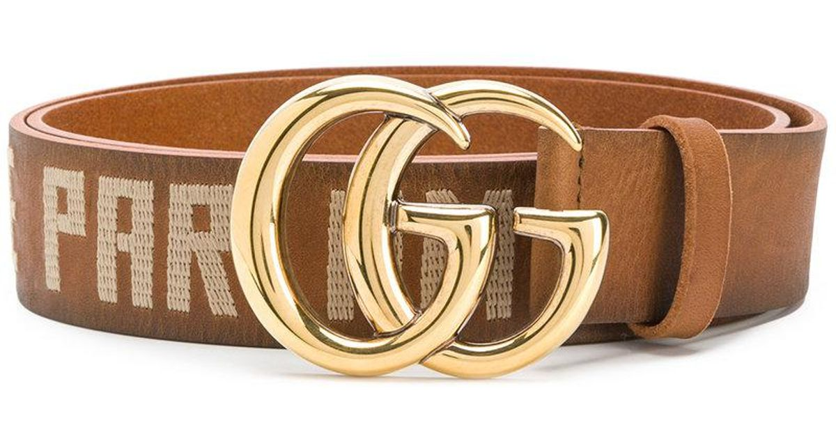 7dcf5095b0b Lyst - Gucci Embroidered Double G Buckle Belt in Brown for Men