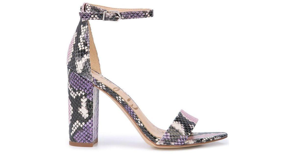 4fe20dbf35d0 Sam Edelman Snake-effect Sandals in Purple - Lyst