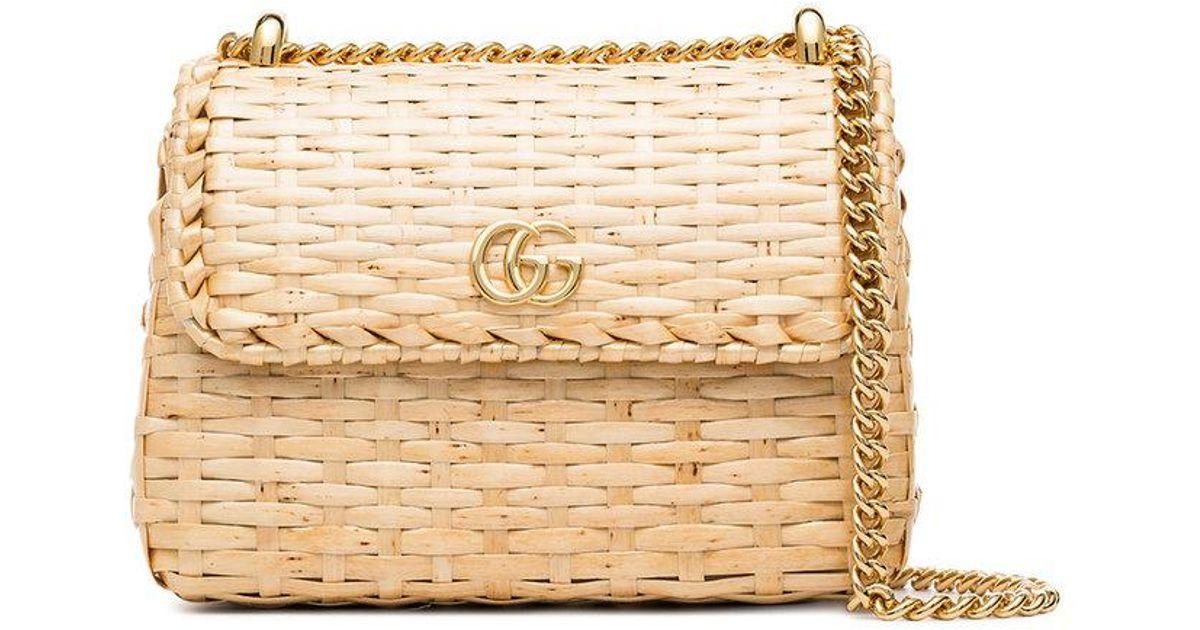 5b78af7bf Gucci Natural Cestino Mini Wicker Bag in Natural - Lyst