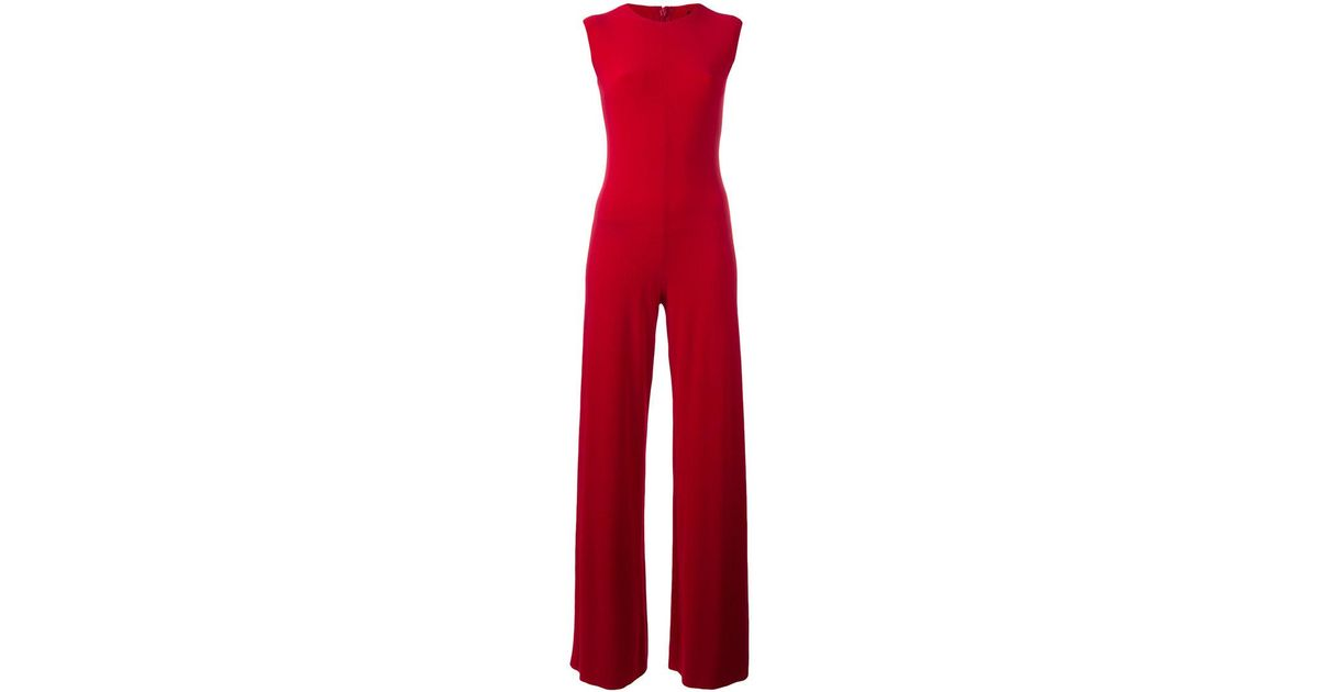5ca2aff7cbc7 Lyst - Norma Kamali Fitted Jumpsuit in Red