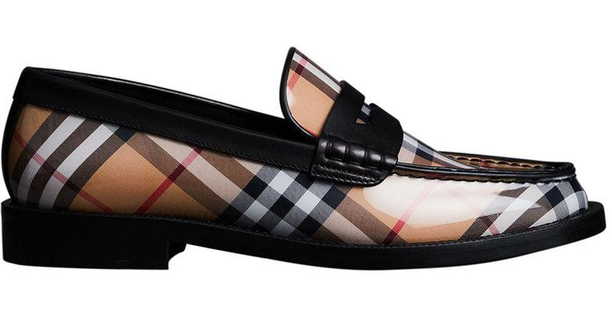 Vintage Check and Leather Penny Loafers - Yellow & Orange Burberry Aw9X4wS8b4