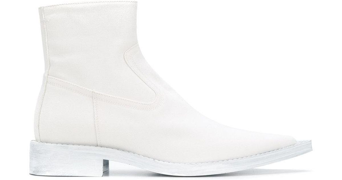 3611f2139ba MM6 by Maison Martin Margiela White Minimalist Cowboy Boots