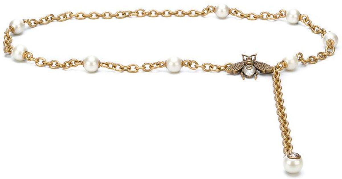 9b76e913b55 Lyst - Gucci Pearl Chain Belt in Metallic