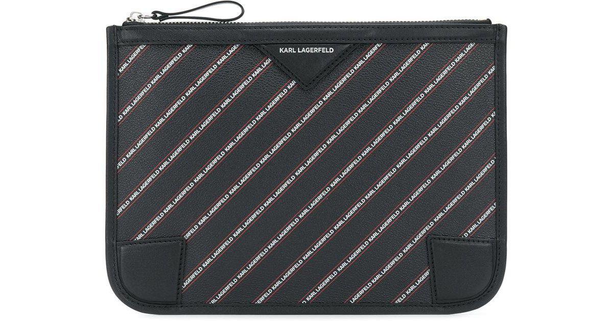 Lagerfeld Black Lyst Pouch Striped Karl Logo In eQdBWExrCo