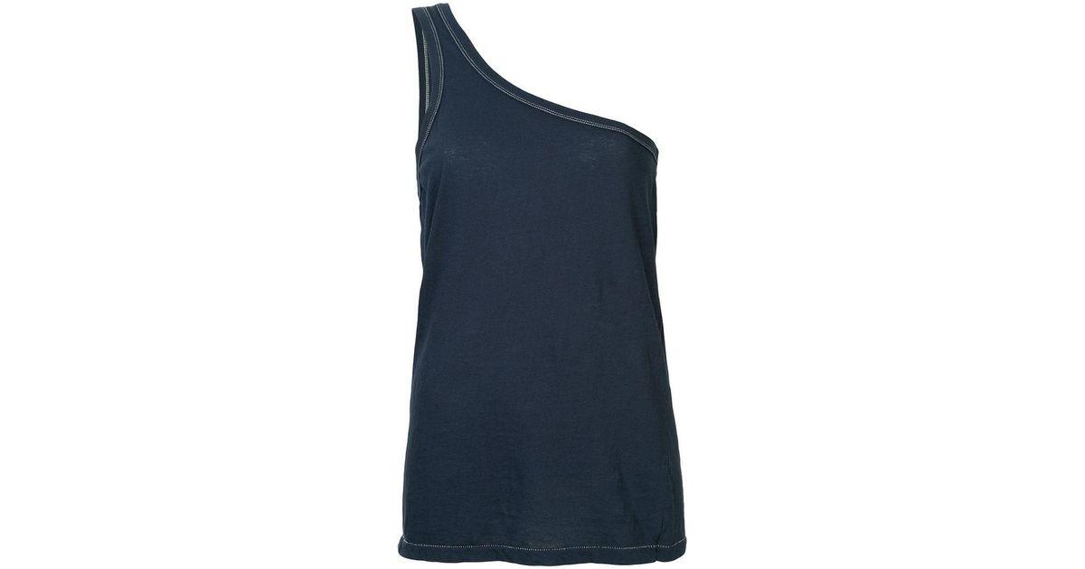 fa51755922027 Bassike One Shoulder Jersey Tank in Blue - Lyst