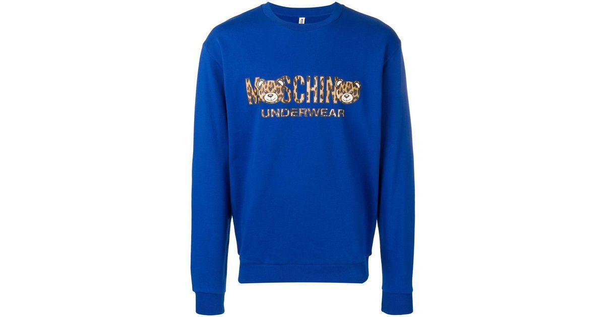 882c11105a69 Lyst - Moschino Leopard Logo Sweatshirt in Blue for Men