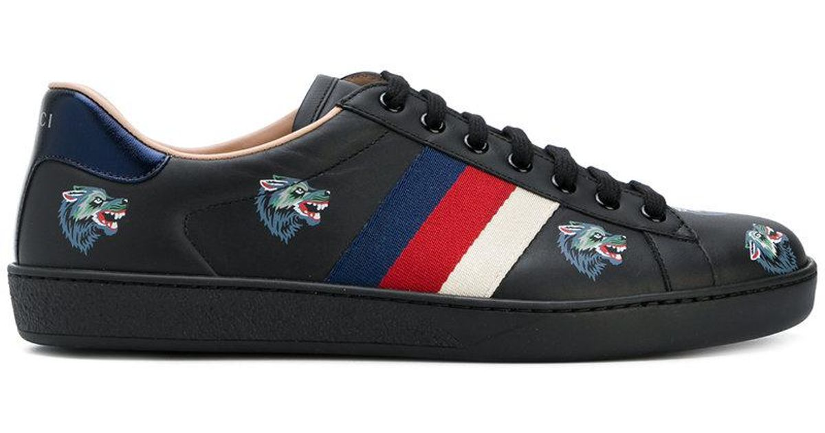 9c720a719ef Lyst - Gucci Ace With Wolves Print Sneakers in Black for Men