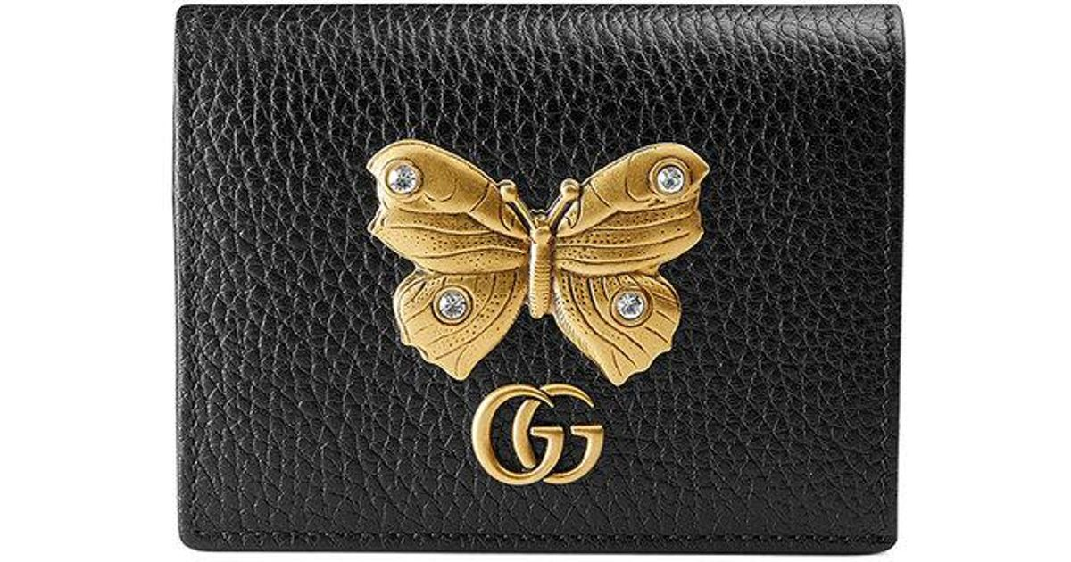 ff55f95f32d46d Gucci Leather Card Case With Butterfly in Black - Save 9% - Lyst