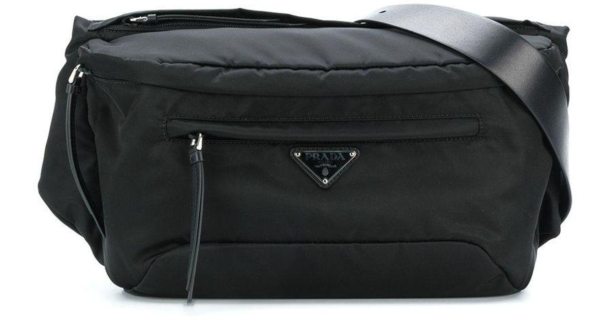... good lyst prada nylon logo plaque waist bag in black 3eb9e 111f6 87512cc566ae4