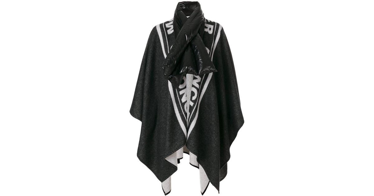 40f084d40 Moncler Oversized Padded Collar Cape in Black - Lyst