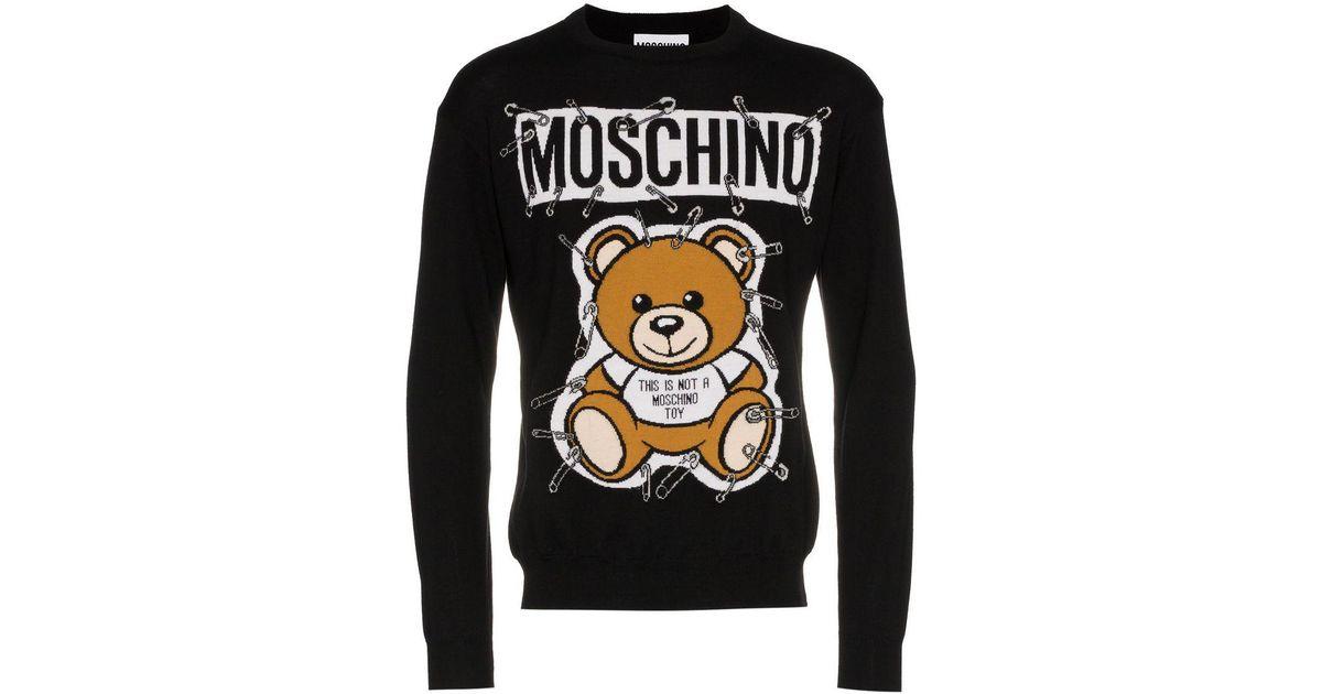 a3b79266ff3 Moschino Teddy Bear Intarsia Safety Pin Virgin Wool Jumper in Black for Men  - Lyst