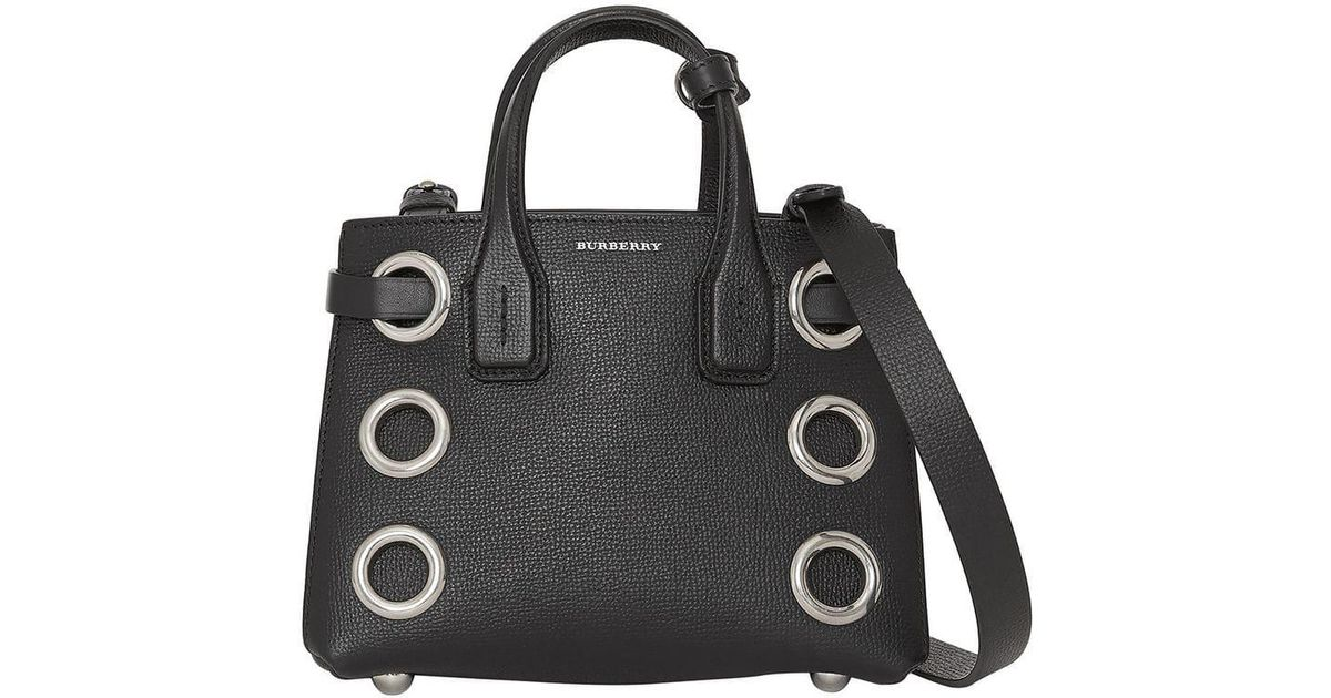 Burberry The Baby Banner In Grommeted Leather In Black Lyst