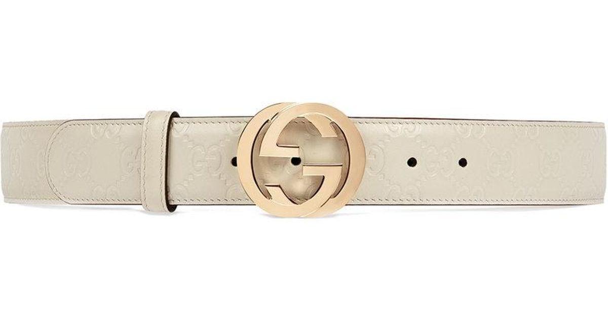 90ca84e00a0 Gucci Signature Leather Belt in White - Lyst