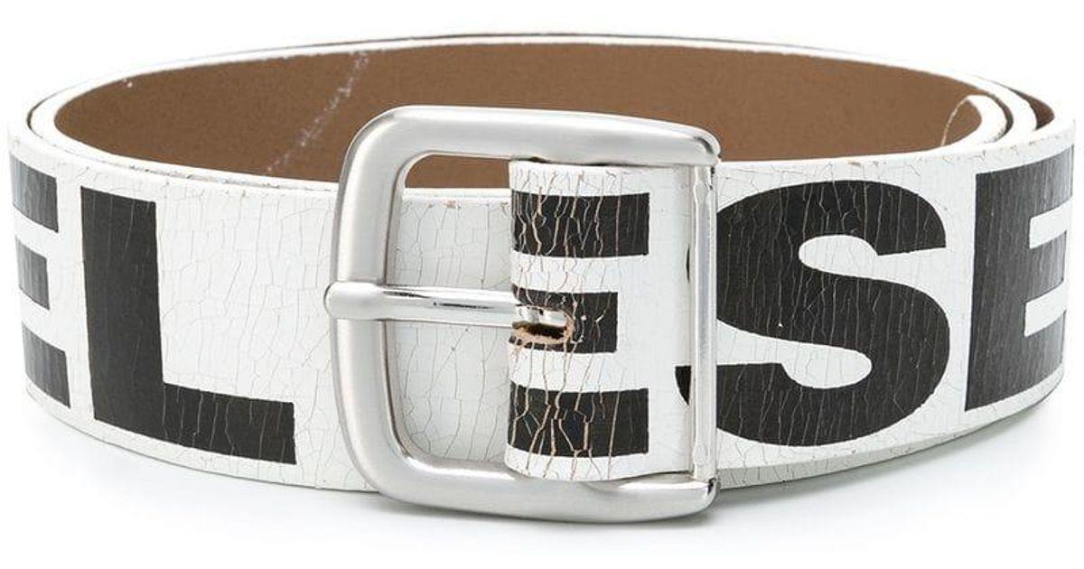 Lyst - Cinturón con estampado del logo DIESEL de hombre de color Blanco e44ab4a4ba94