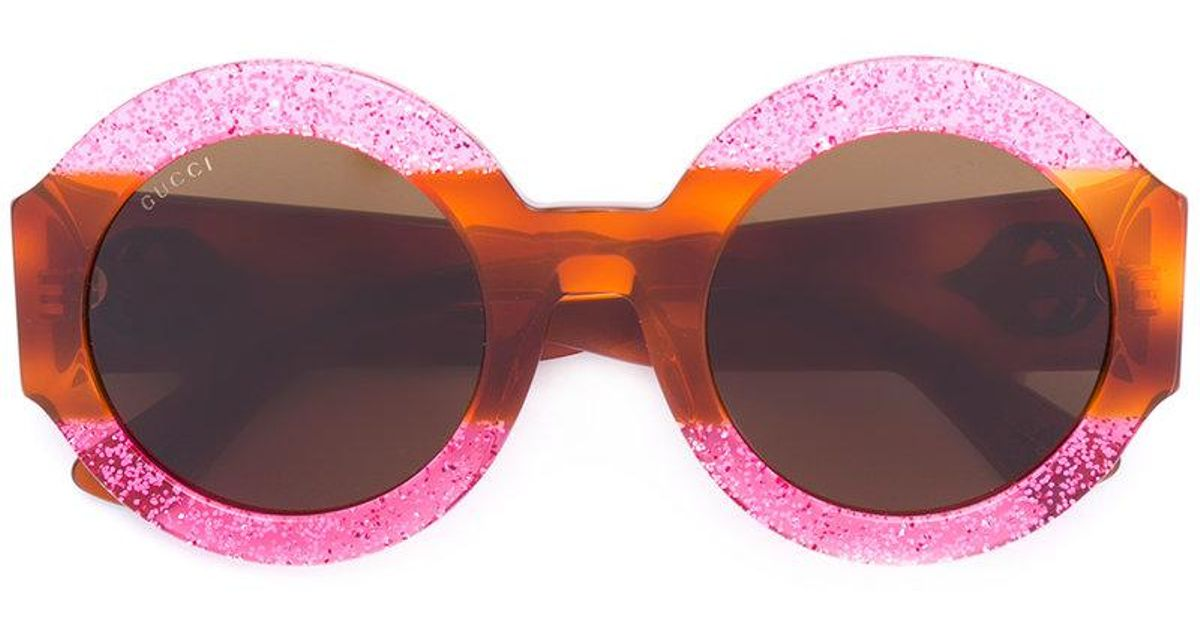 67152ead1b9 Lyst - Gucci Glitter Tortoiseshell Round Sunglasses in Brown