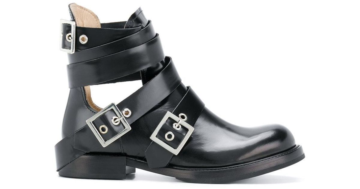 DIESEL Leather Cut-out Buckle Boots in