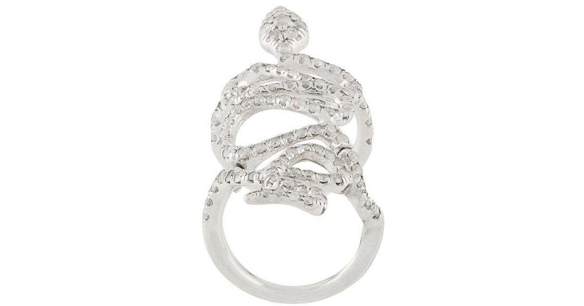 2ece9d6a7213 18 De En Forma Diamante Con Kt Y Blanco Anillo Serpiente Oro I76yvbmYfg