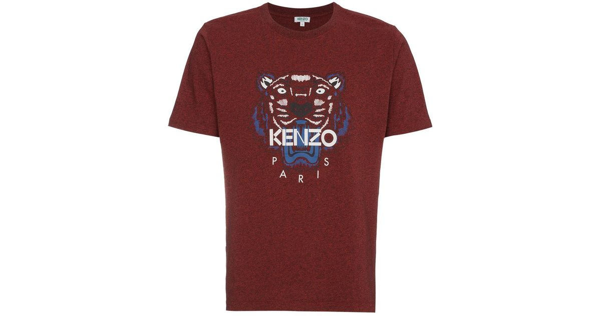 aee37521 KENZO Burgundy Red Tiger Logo T-shirt in Red for Men - Lyst