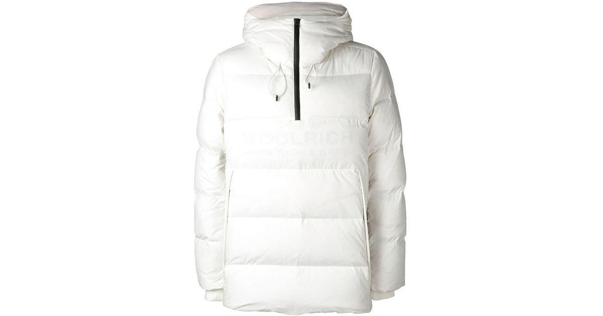 cheaper dfc2e d6c3e Woolrich Daunenjacke mit kontrastierendem Reißverschluss in White für Herren