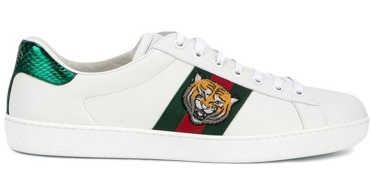 65163c1f6ac Lyst - Gucci  ace  Tiger Embroidered Sneakers in White for Men