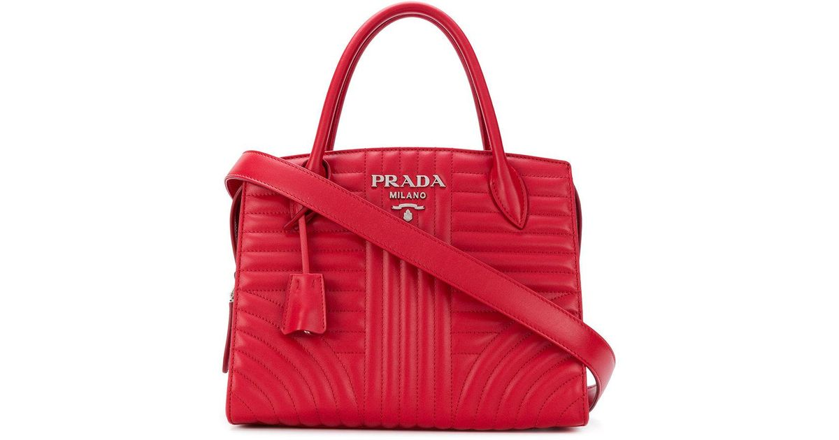 98757b92a00b Lyst - Prada Esplanade Quilted Tote Bag in Red