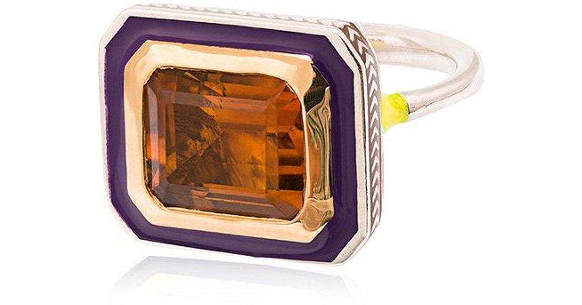 Alice Cicolini 22k Yellow Gold Silver Emerald Cut Citrine Ring gHM0A
