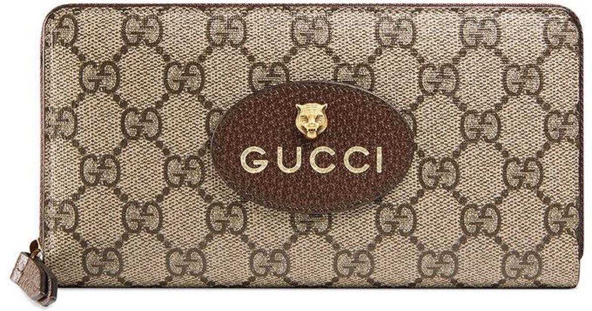 b3b57324d Gucci Neo Vintage Gg Supreme Zip Around Wallet - Lyst