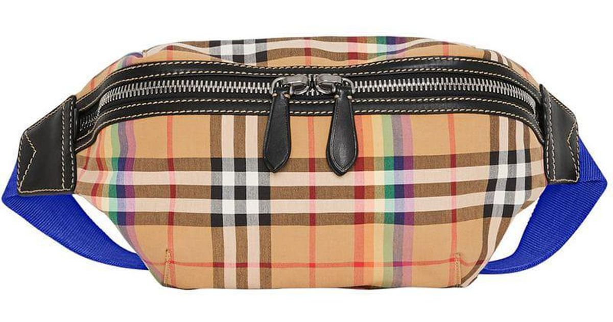 eeb61a41a0ad Lyst - Burberry Rainbow Check Belt Bag in Yellow for Men