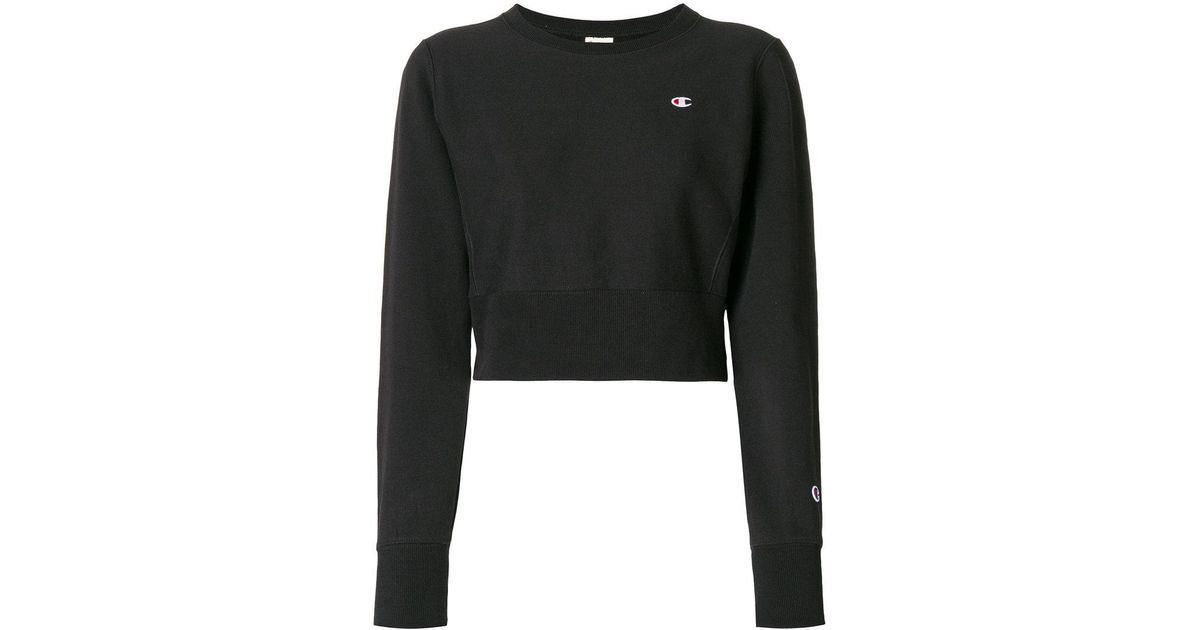 b3a17b7bffea Lyst - Champion Cropped Sweatshirt in Black