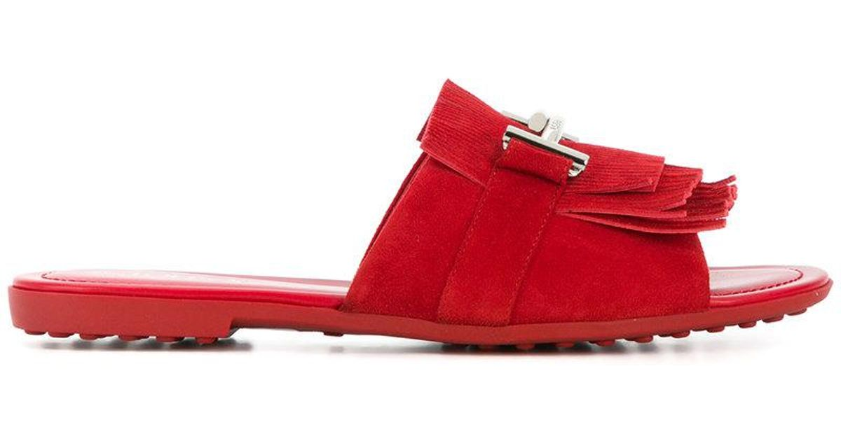 Double T fringed slides - Red Tod's xr8wTj