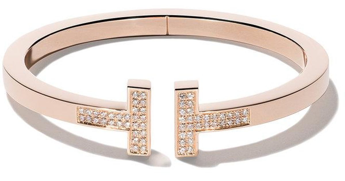 d0e56b9079c28 Tiffany & Co Metallic 18kt Rose Gold Tiffany T Square Diamond Cuff