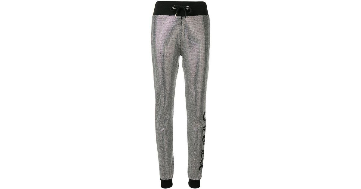 beea53a926d62 Philipp Plein Crystal Embellished Track Pants in Gray - Lyst