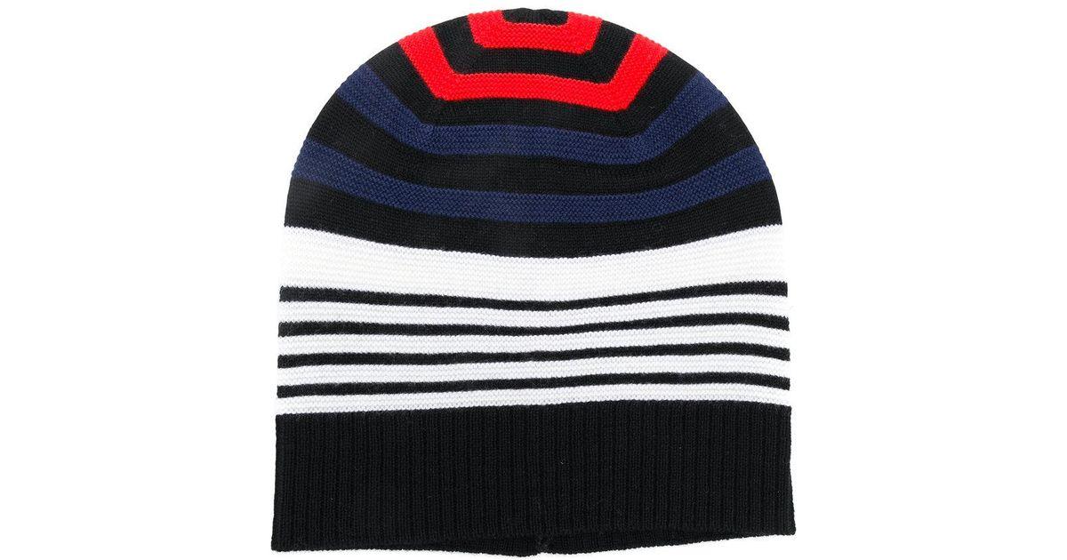 3cbd9bdef0b Lyst - Sonia Rykiel Multicolour Striped Beanie Hat in Black