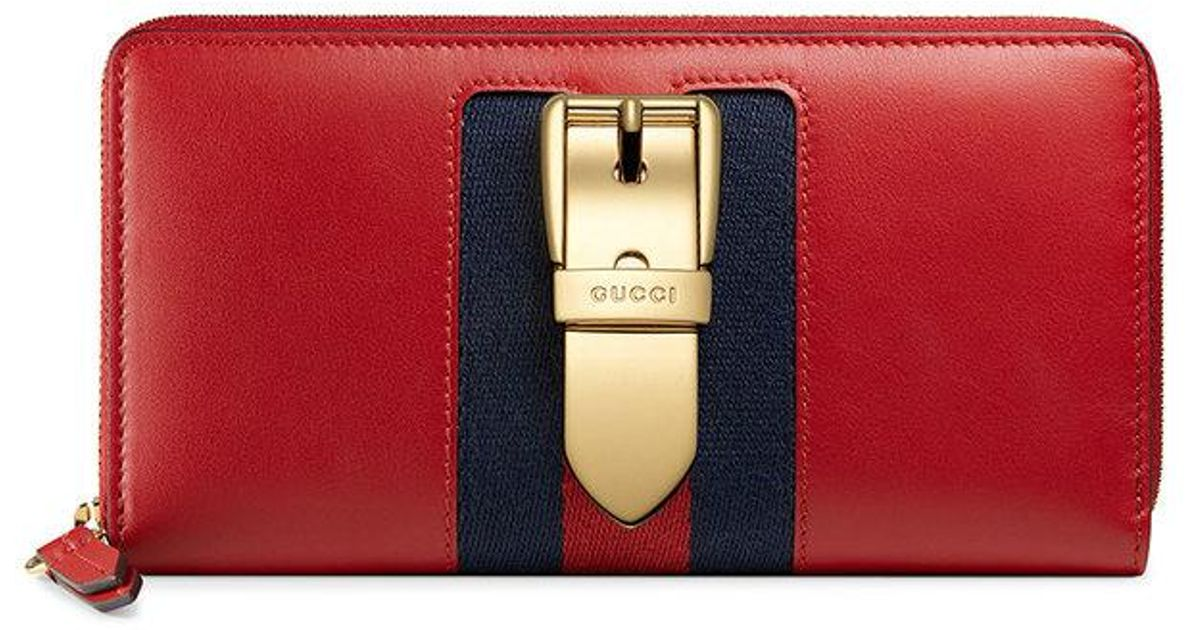 dc109869f7bfe2 Lyst - Gucci Sylvie Leather Zip Around Wallet in Red