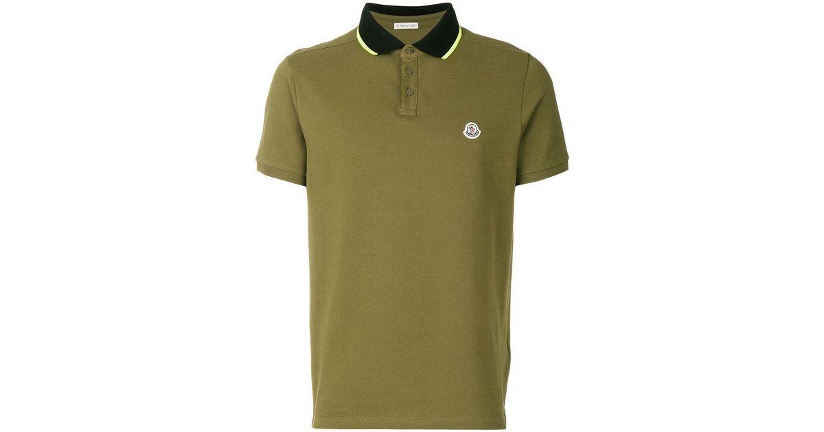 newest 278dd 02104 Moncler Poloshirt mit Kontrastkragen in Green für Herren