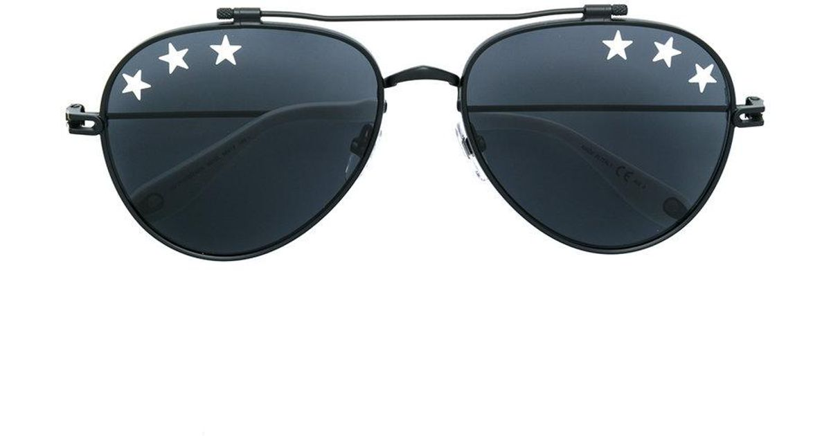 7f041569ab Givenchy Star Studded Aviator Sunglasses in Black - Lyst