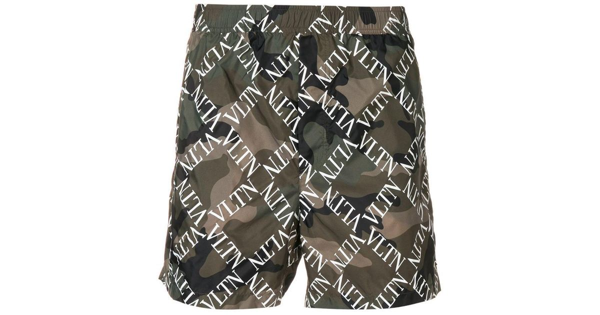21528a8160 Lyst - Valentino Vltn Camouflage Swim Shorts in Green for Men