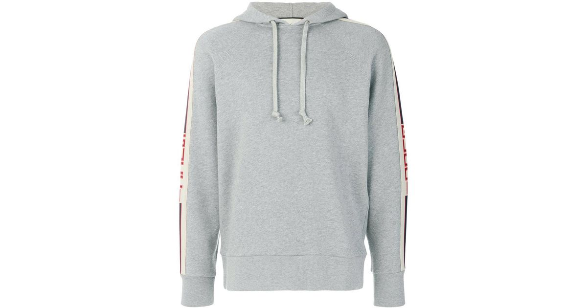 3d0e46c4d Gucci Banded Drawstring Hoodie in Gray for Men - Lyst