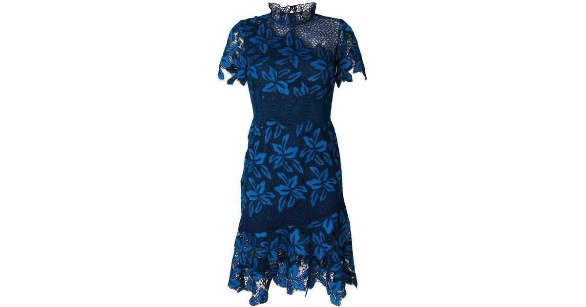 Sea Blue Mosaic Lace Dress
