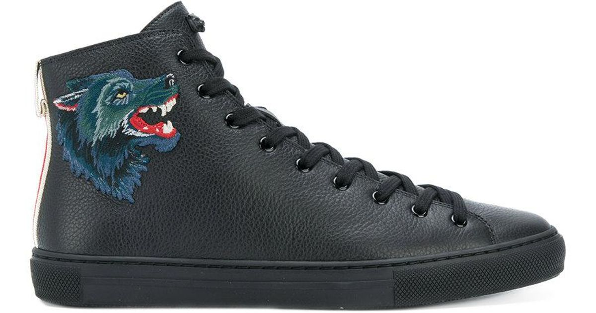 Wolf Patch-appliquéd Hi-top Sneakers
