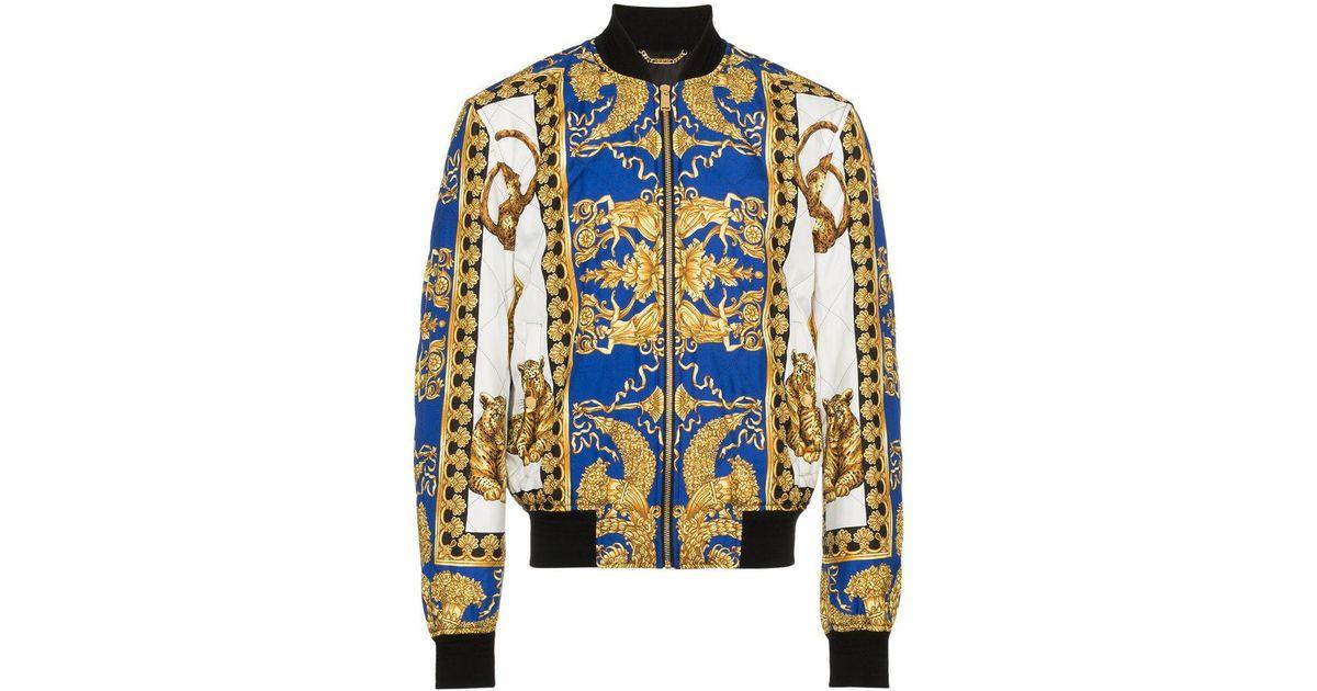 a178fcdf38 Versace Blue Barocco Print Bomber Jacket for men