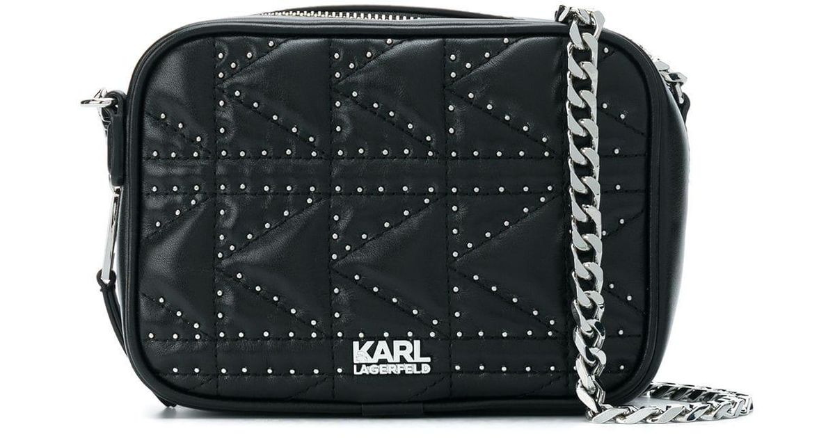 9aa8feb9f0 Karl Lagerfeld Black K/klassik Quilted Stud Camera Bag