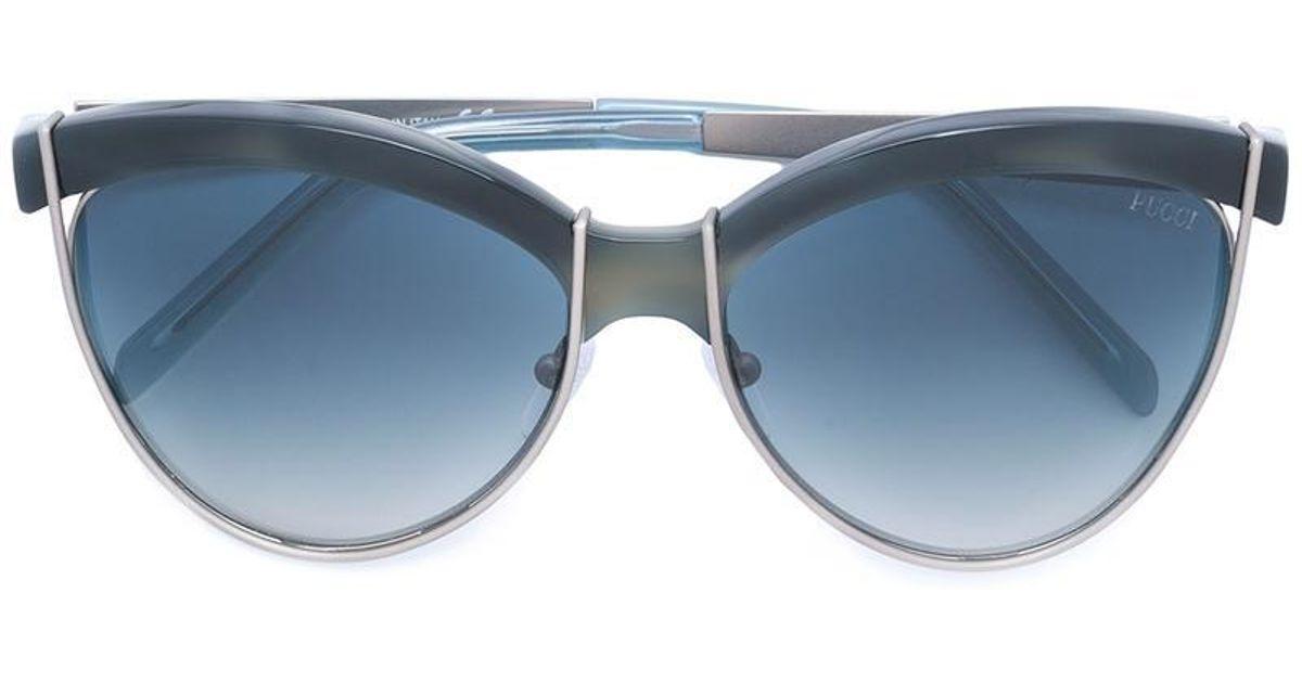 Oversized Sunglasses Lyst In Pucci Emilio Blue yvnO8m0Nw