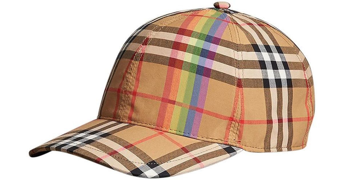 7cdad7b5de Burberry Rainbow Vintage Check Baseball Cap in Brown - Lyst