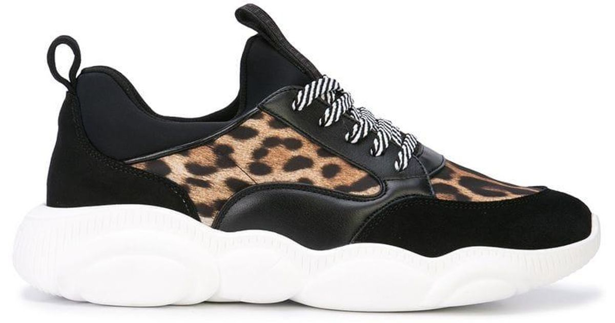 Moschino Leather Leopard Print Trainers